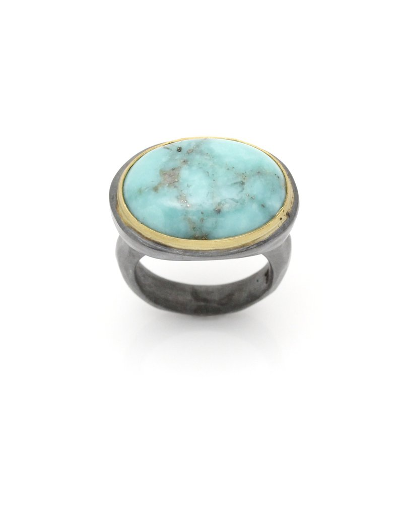 Large Turquoise Ring in Oxidized Silver with 22k Gold