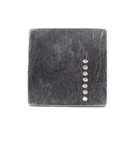 Square Ring in Oxidized Silver with 7 White Diamonds