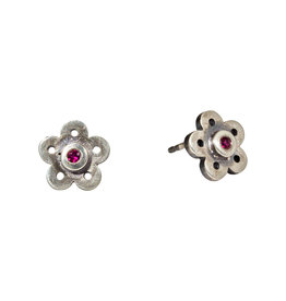 Flower Post Earrings in Oxidized Silver with Rubies