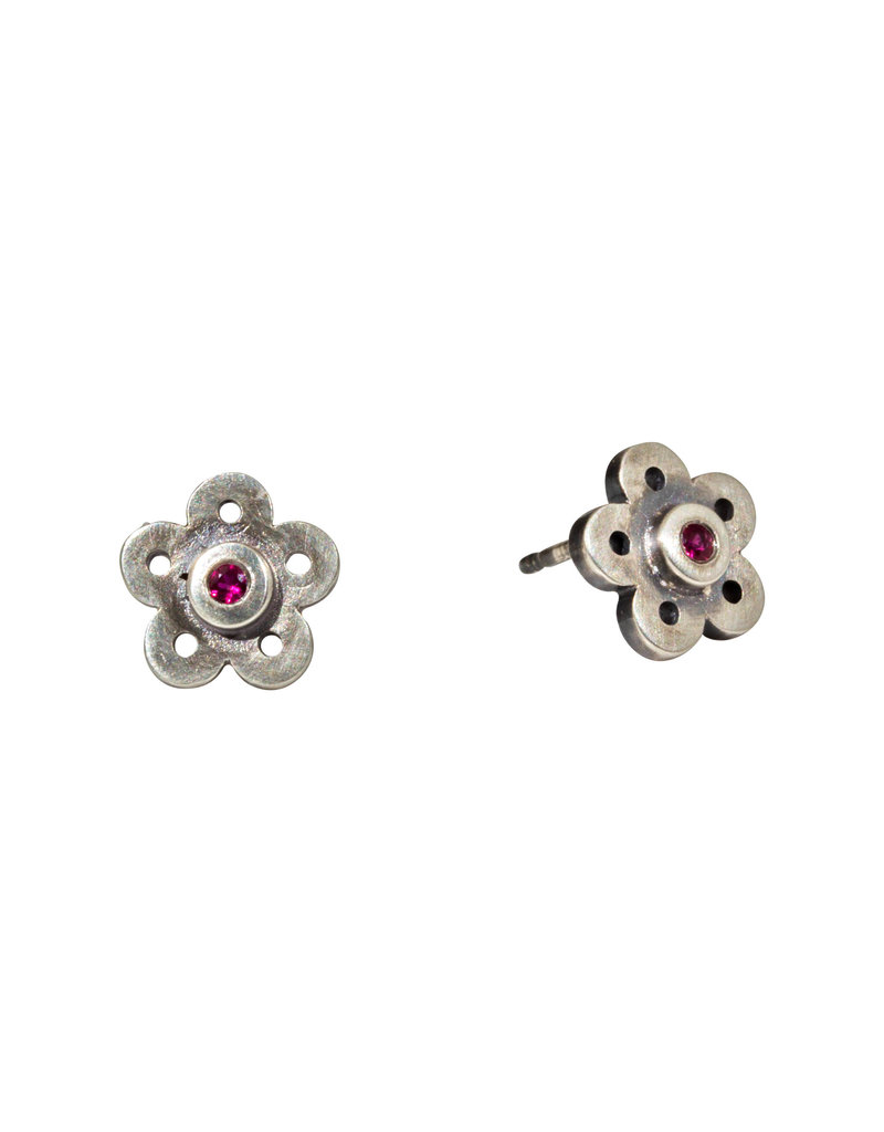 Flower Ruby Post Earrings in Oxidized Silver