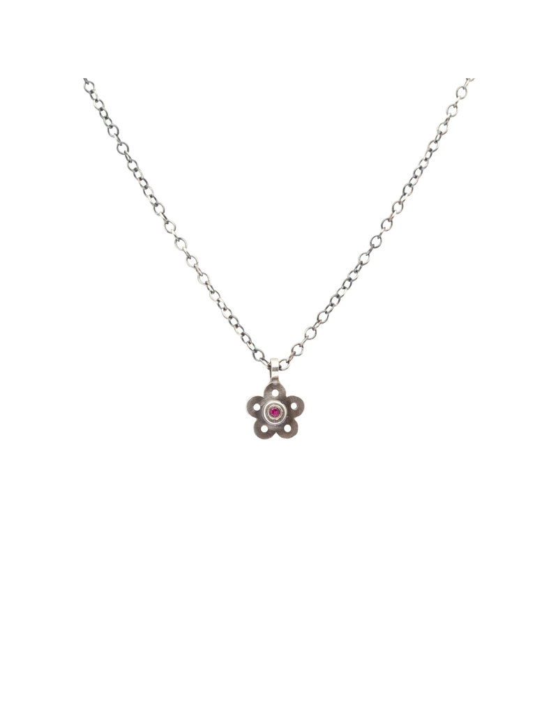 Flower Pendant in Oxidized Silver with Ruby