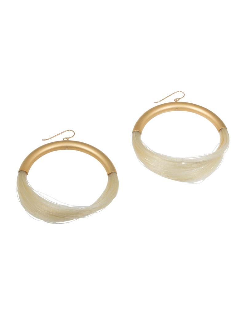 Full Moon - Large White Horsehair Hoop Earrings