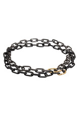 Heavy Chain Necklace in Blackened Steel and 14k Yellow Gold