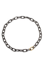 Heavy Chain Necklace in Grey Steel and 18k Yellow Gold
