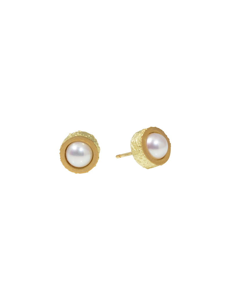 White Pearl Post Earrings with Sand Texture in 18k Yellow Gold