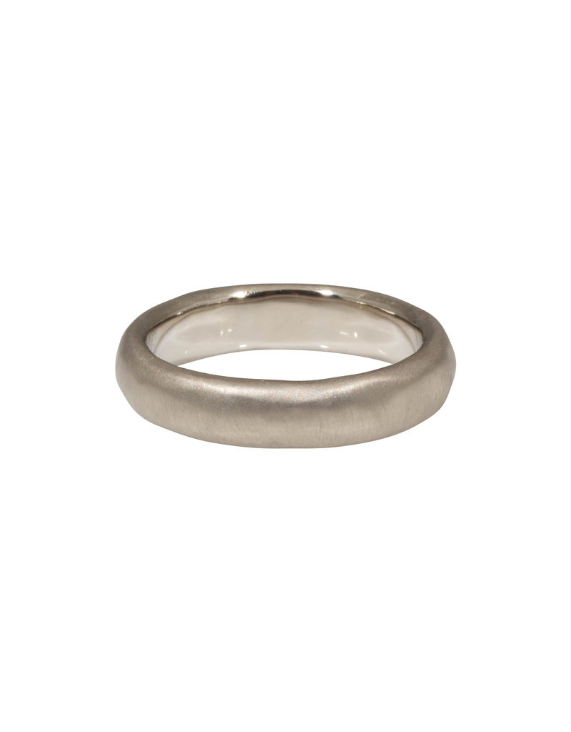 5mm Half Round Band with Modeled Texture in 18k Palladium White Gold