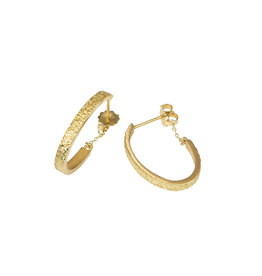 Small Oval Sand Hoop Earrings in 18k Yellow Gold