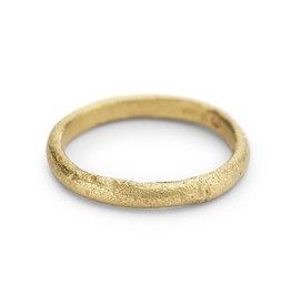 Half Round Textured Band in 18k Yellow Gold