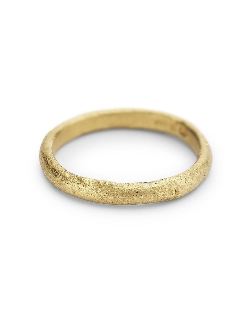 Half Round Textured Band in 18k Yellow Gold