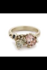 Tourmaline and Aquamarine Asymmetric Ring