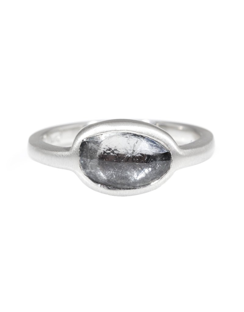 Organic Oval Grey Sapphire Ring in Palladium