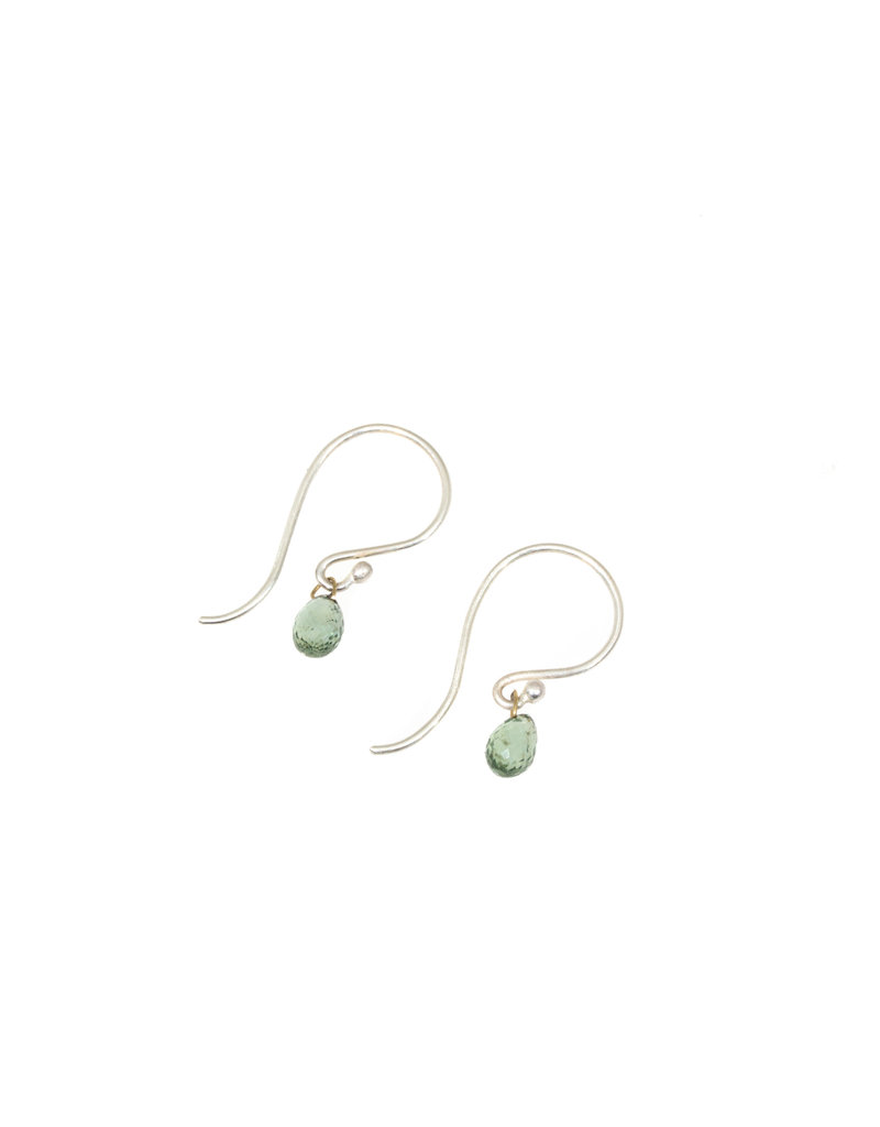Green Sapphire Briolette Drop Earrings with Silver Earwires