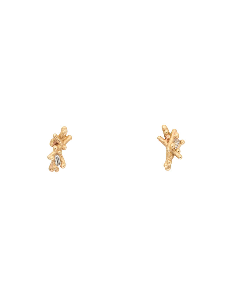Baguette Diamond Post Earrings in 14k Yellow Gold