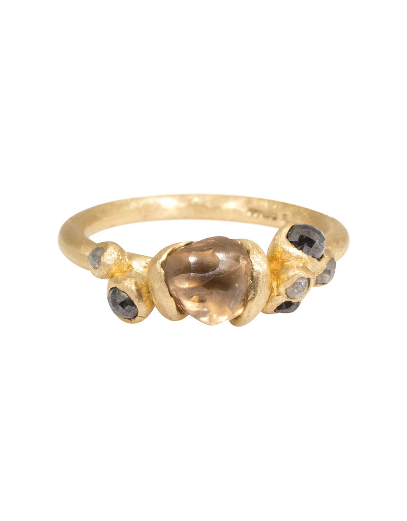 Champagne Diamond Crystal Ring in 14k Yellow gold