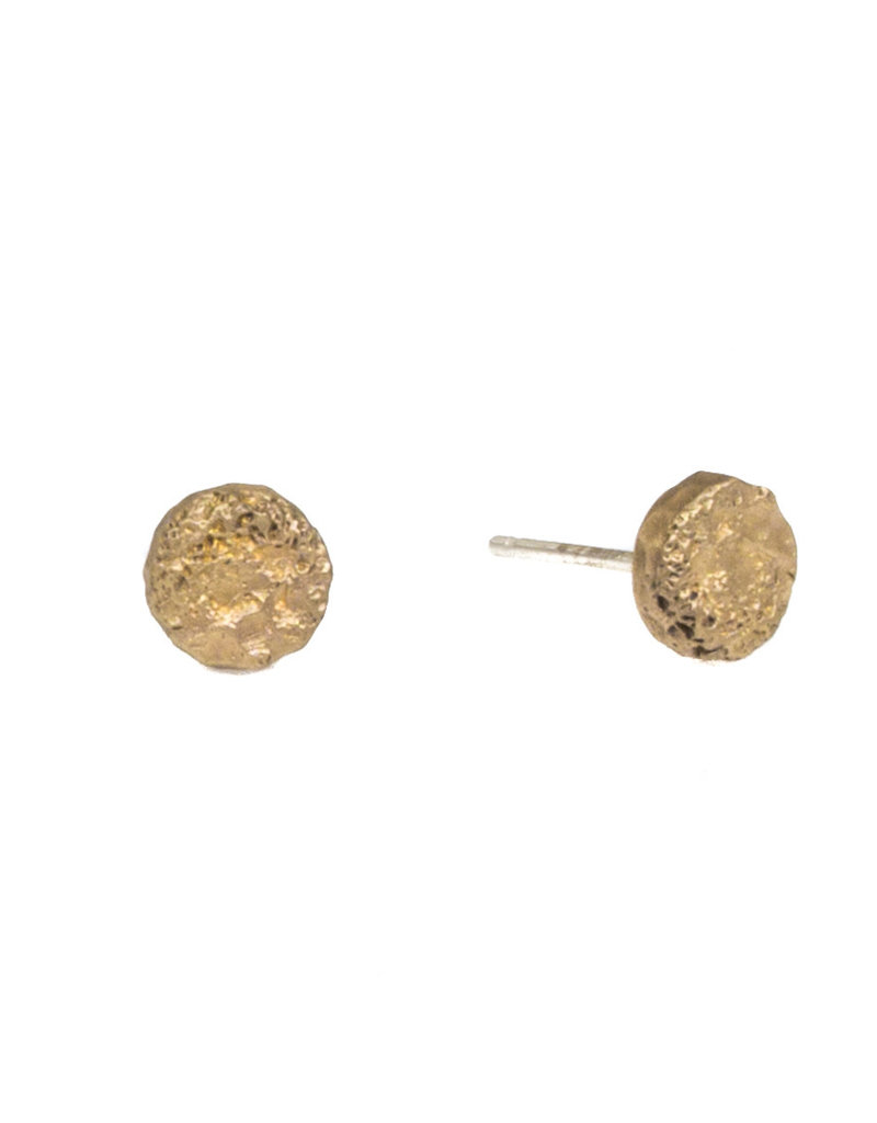 Mini Topography Post Earrings in Yellow Bronze