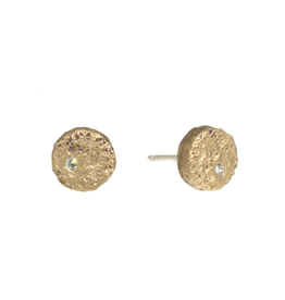 Small Topography Posts with White Diamonds in Yellow Bronze with White Diamonds