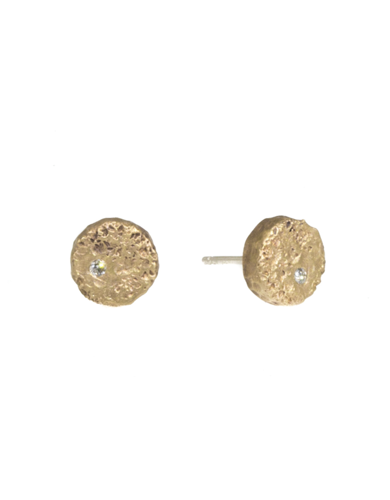 Small Topography Post Earrings with White Diamonds in Yellow Bronze with White Diamonds