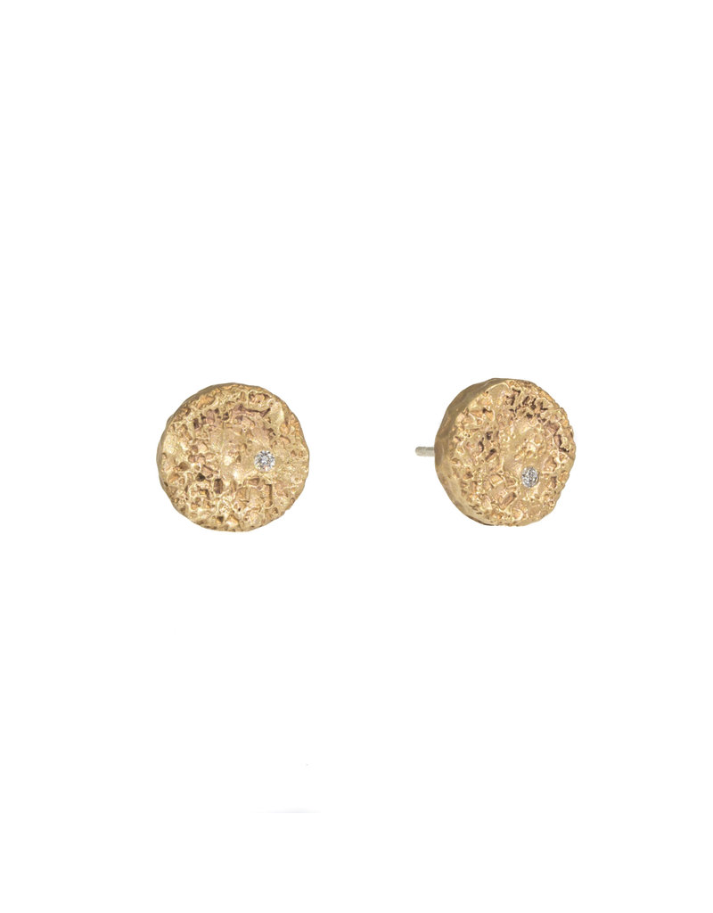 Medium Topography Post Earrings with White Diamonds in Yellow Bronze