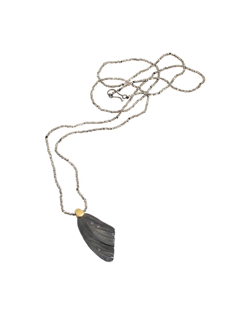 Mariposa Wing Pendant in Oxidized Silver and 18k Yellow Gold on Steel Cut Bead Chain