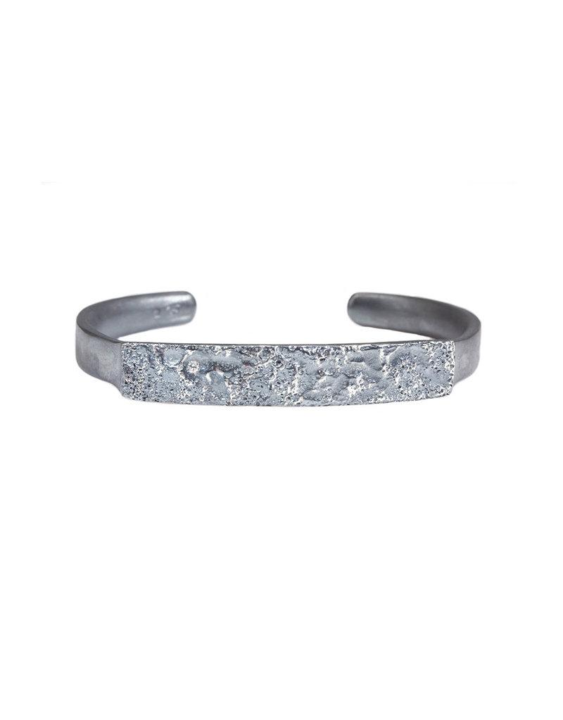 Topography Cuff Bracelet in Oxidized Silver Plain