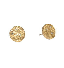 Medium Topography Post Earrings with Diamonds in Yellow Bronze