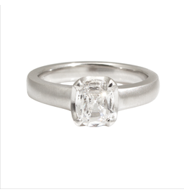 Scooped Prong Set Old European Cut Cushion Diamond in Platinum Raised Style