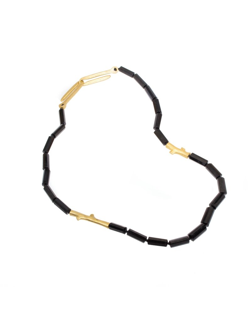 Branch Necklace with Black Tourmaline and Black Diamonds with Yellow Bronze