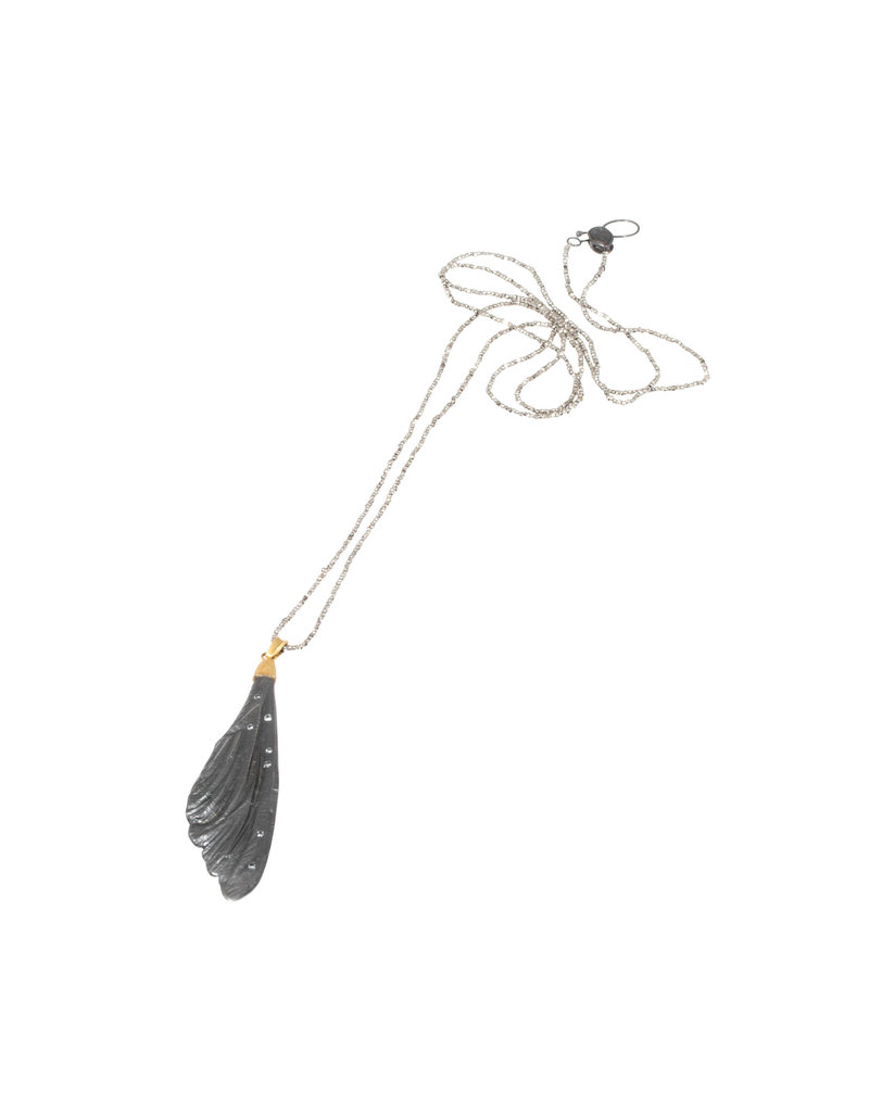 Dragonfly Wing Pendant with White Sapphires in Oxdized Silver and Steel Cut Beads and 18k Yellow Gold Accent
