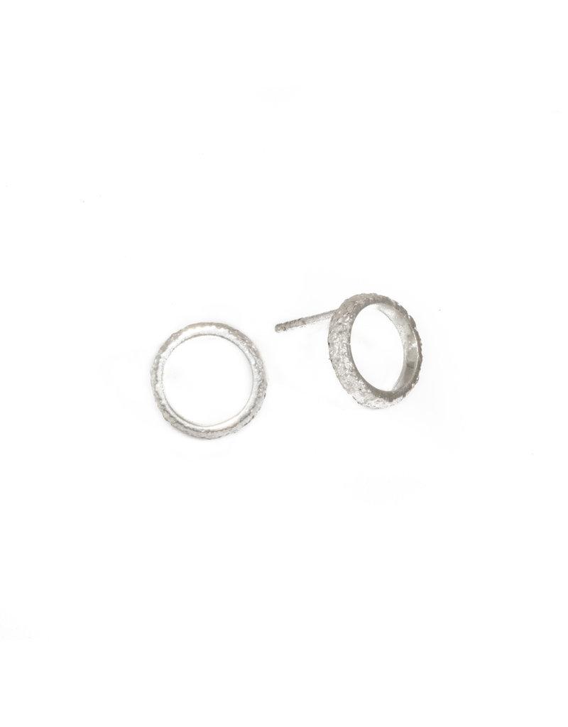 Medium Open Sand Circle Post Earrings in Silver