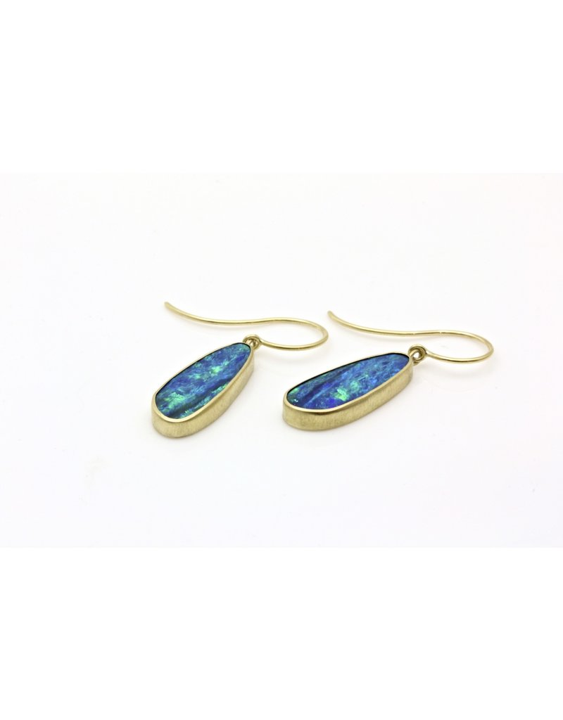 Oblong Opal Triplet Earrings in 18k Yellow Gold