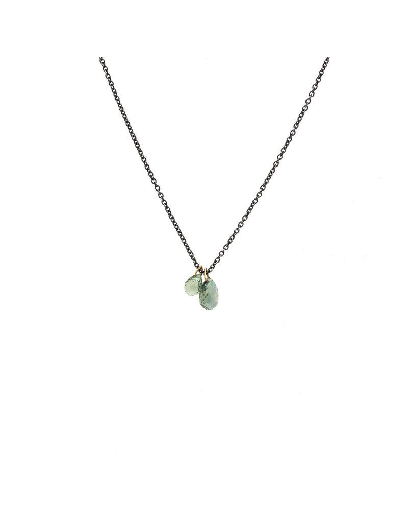 Green Sapphire Briolette Double Drop Pendant on Oxidized Silver Chain