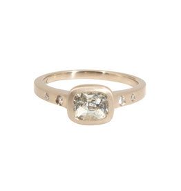 Rectangular White Sapphire Ring with Raised Cup Setting in 18k Warm White Gold