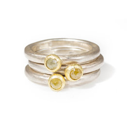 Rose Cut Diamond Stacker Ring in Silver with 18k Yellow Gold