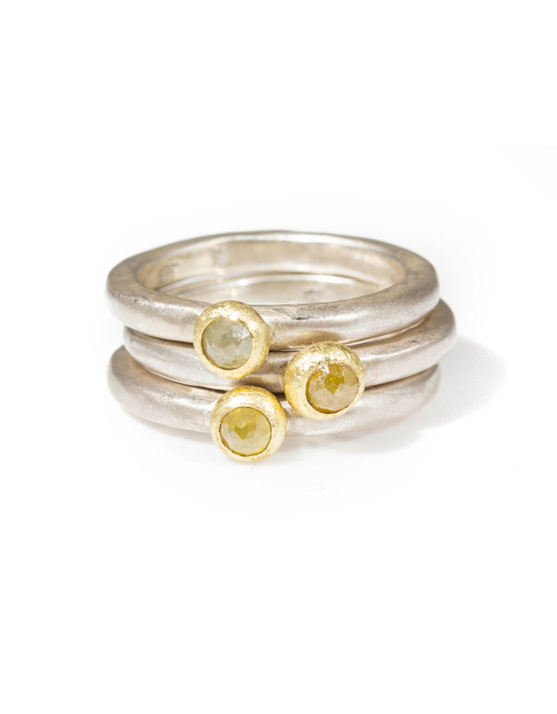 Rose Cut Diamond Silver Stacker Ring with 18k Yellow Gold