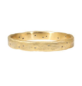 Heavy Oval Bangle in Bronze with 20 Yellow Sapphires
