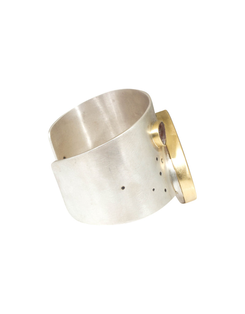 Rutilated Quartz and Diamond Cuff in 18k Yellow Gold and Sterling Silver