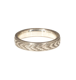 Adam Garret White Gold Engraved Ring, X Pattern with Arrows