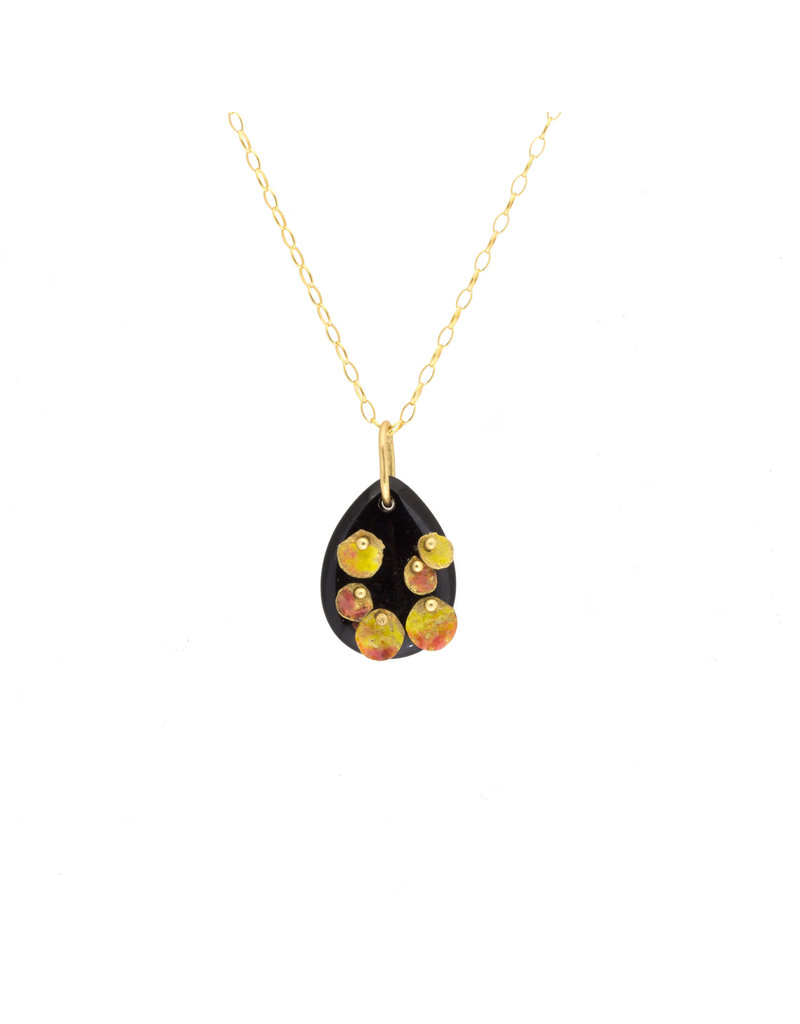 Black Onyx Pendant with Enameled 22k and 18k Yellow Gold Flutteries