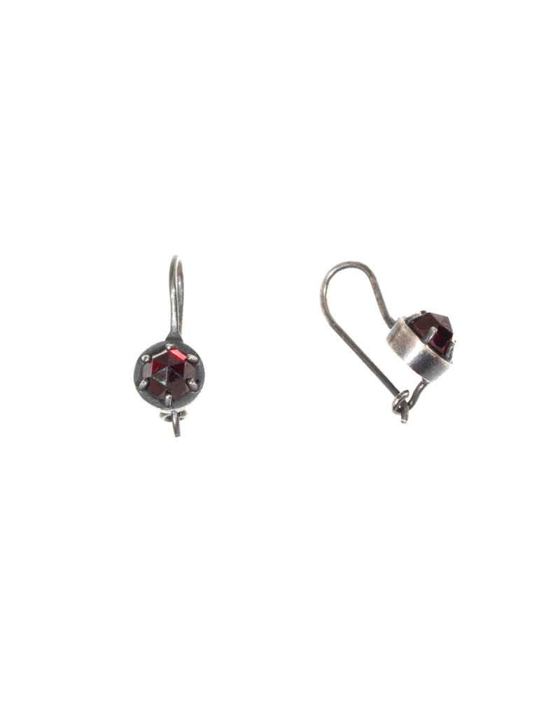 Prong Set Bohemian Garnet Earrings in Oxidized Silver with 22k Gold