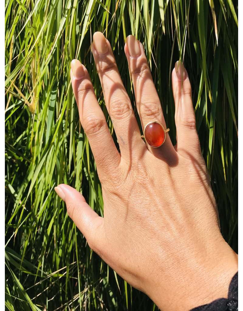 Orange Carnelian Ring in 18k Yellow Gold