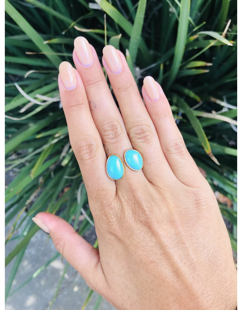 Double Turquoise Ring in 18k & 22k Yellow Gold