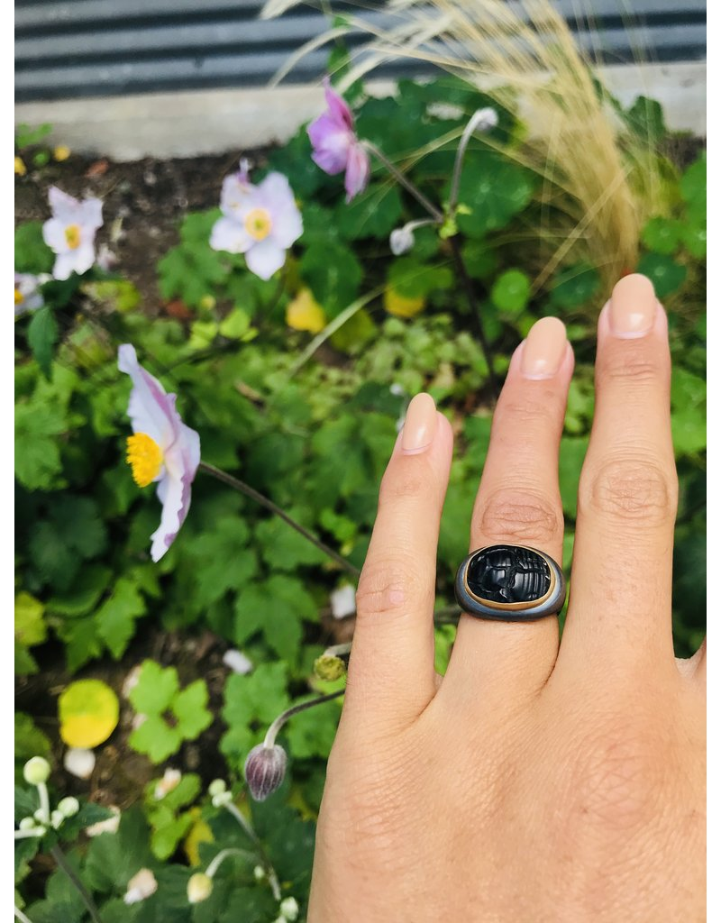 Trilobite Ring with 22k Gold Bezel and Oxidized Silver Shank