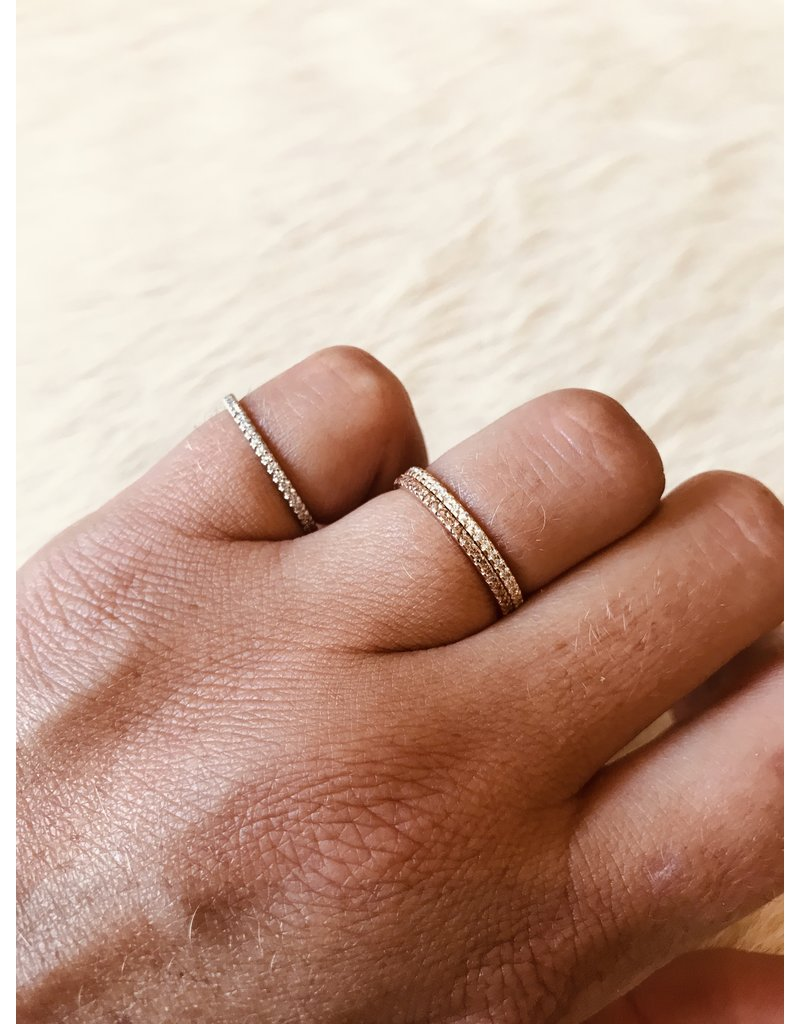 Micro Pave Eternity Band Ring with Cognac Diamonds in 14k Rose Gold