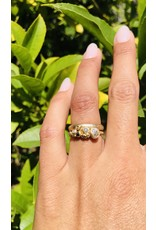 Diamond Cluster Ring with Antique Round Diamond in 14k Yellow Gold