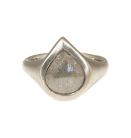 Diamond Teardrop Solitaire Ring in 18k White Gold