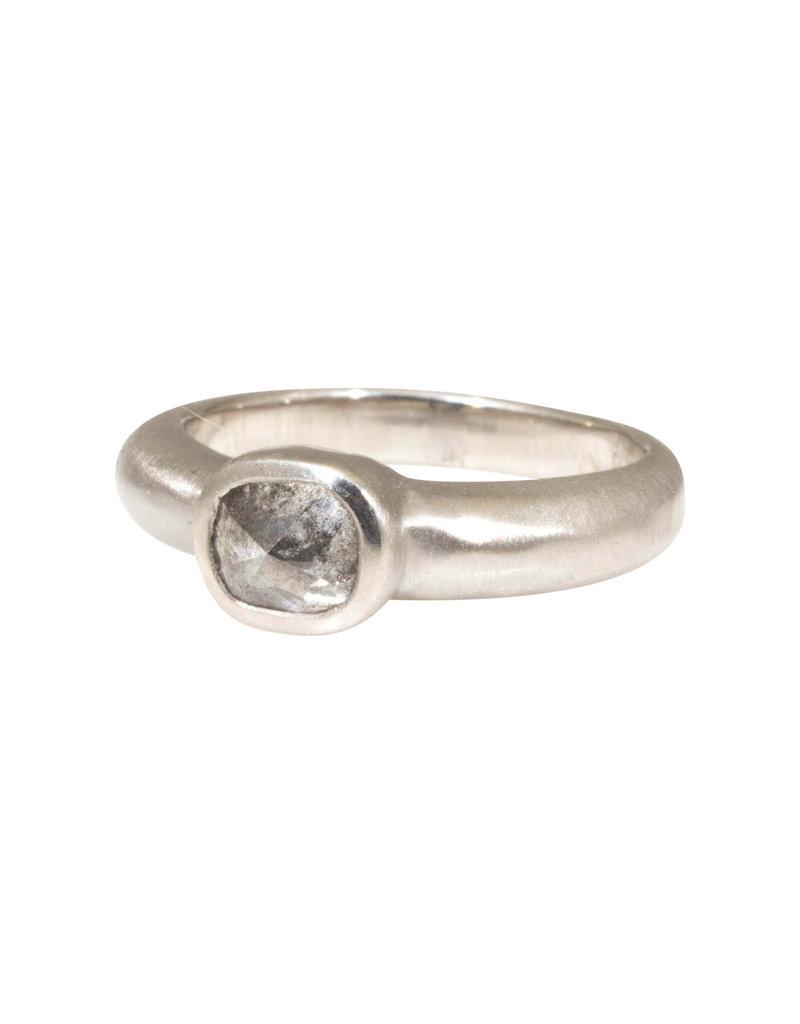Cushion Shape Rose Cut Diamond Ring in Palladium