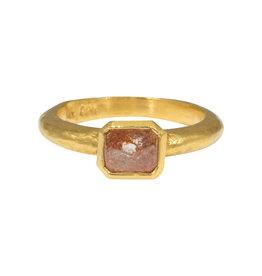 Red Rose Cut Diamond Ring in 22k Gold