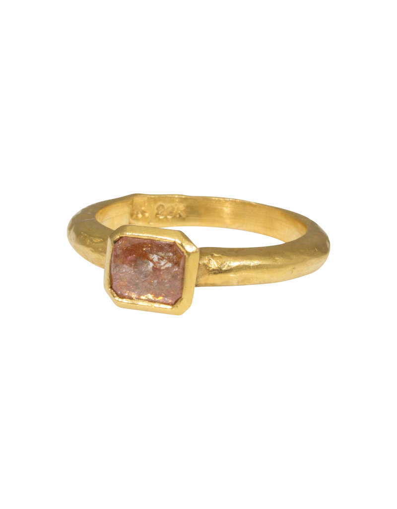 Red Rose Cut Diamond Ring in 22k Gold