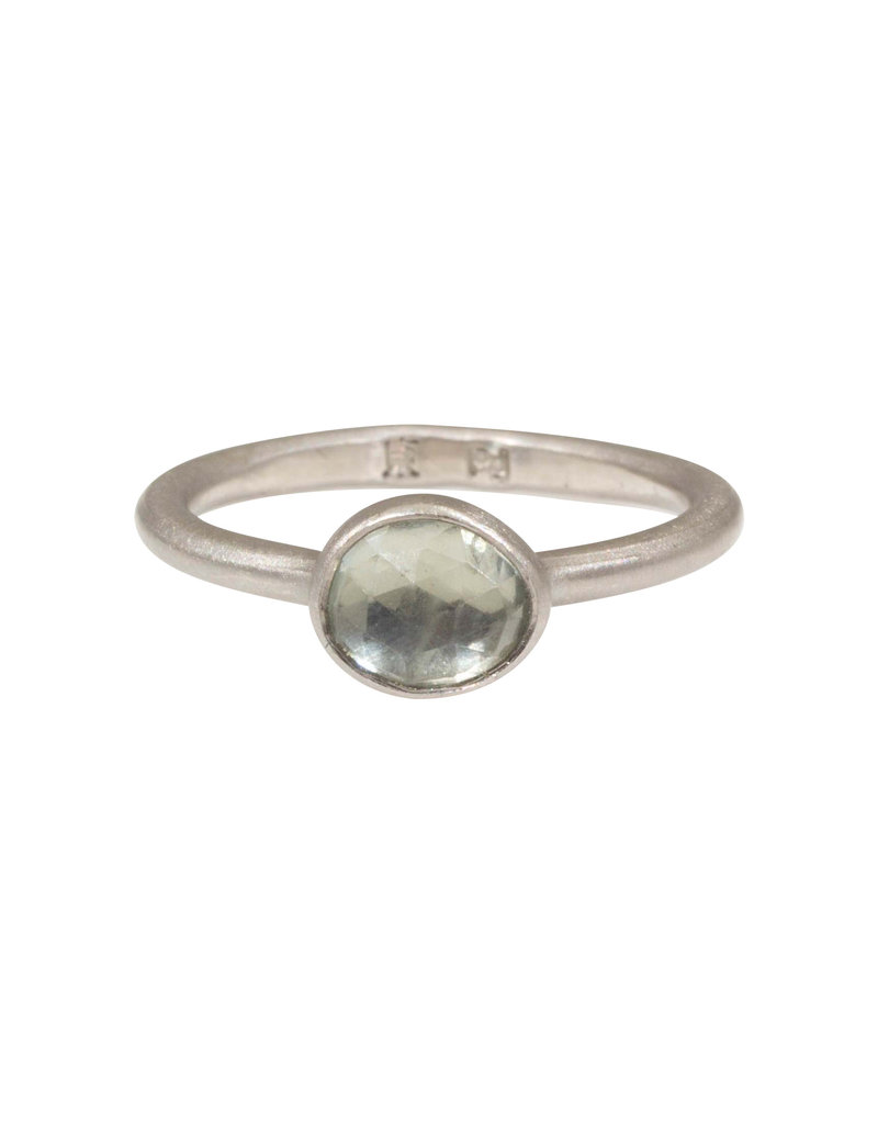 Ring with Organic Shaped Yellow Sapphire in Palladium