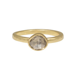 Organic Shaped Round Rose Cut Cognac Diamond Ring in 18k Yellow Gold and Platinum